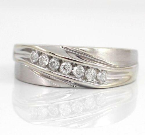 Mens Solid White Gold Ring Ebay