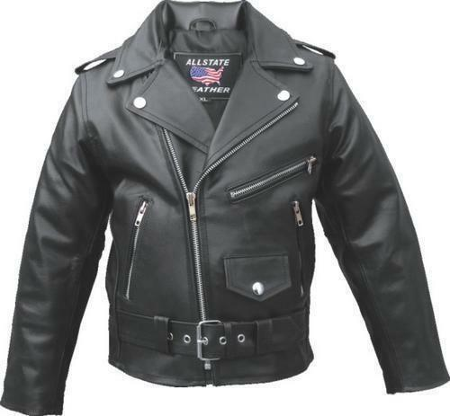 This black leather jacket is made with a split cowhide leather. The jacket has 3 front zippered pockets, 1 snap pocket, 1 inside pocket and the sleeves are zippered. This jacket is made by Allstate Le.