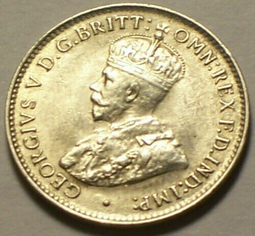 British West Africa, 1914 - H George V Threepence, 3 Pence. 1,560,000 Mintage.