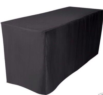 4' ft. Fitted Polyester Table Cover Wedding Banquet Event Tablecloth Black - Fitted Table Covers