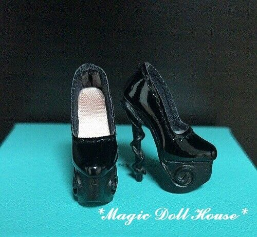 The Black Leather High Heels Shoes for Fashion Royalty FR2 Poppy Parker Doll