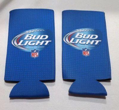 New Authentic NFL Bud Light Beer Koozie Coolie 16 oz Slim Bottle Can - Pack of 2