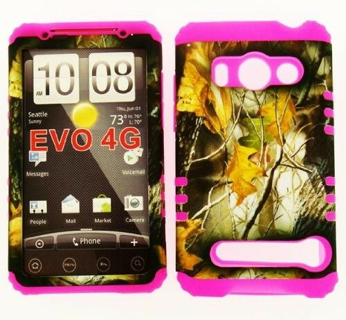 HYBRID Silicone+Cover Case for Sprint HTC EVO 4G Camo Mossy Dry Leaves on Pink
