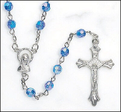 Beautiful Blue Rosary with AB 6 mm Glass Beads
