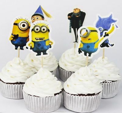 24pcs Despicable Me Minions Cupcake Cake Toppers Decoration Kids Birthday Party (Cake Decorations Minions)
