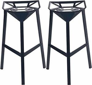 NEW Mod Made Mid Century Modern Geometric Aluminum Barstool, Black, Set of 2 Condition: New
