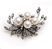 Pearl and Diamante Brooch