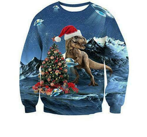UGLY XMAS CHRISTMAS SWEATER Vacation Santa Dinosaur Women Men Sweatshirt Gifts