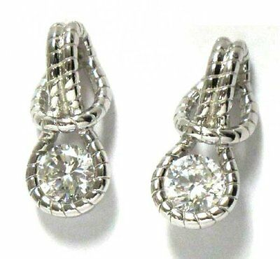 Sterling Silver White CZ Textured Rope Love Knot Pierced Drop Earrings Chic Sterling Silver Love Knot