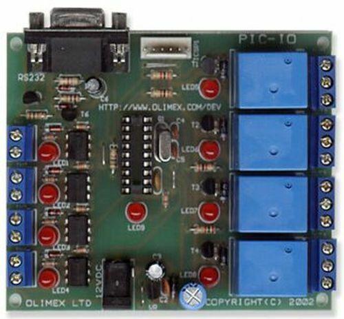 Microchip PIC I/O Board, 4x Relay, 4x Opto Inputs, RS232, ICSP
