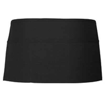 3 Pc Black Server Waiter Waitress 3 Pocket Waist Apron Nice Quality.