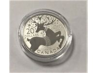 THE ROYAL CANADIAN MINT - 2012 $20 COIN IN 99.99% PURE SILVER – MAGICAL REINDEER - COA