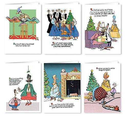 Funny Christmas Card Variety Pack - 12 Christmas Cards & Envelopes-  96