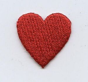 Iron On Embroidered Applique Patch Small Red Heart Valentines 3/4