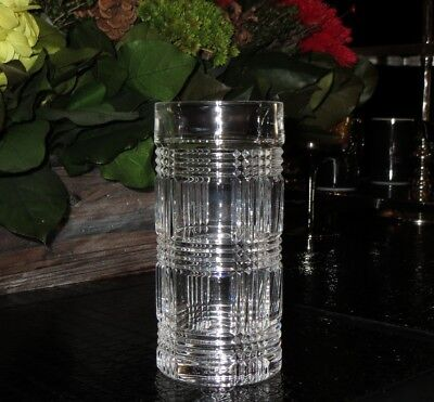 NEW RALPH LAUREN HOME GLEN PLAID CUT PATTERN CRYSTAL DRINKING GLASS or VASE