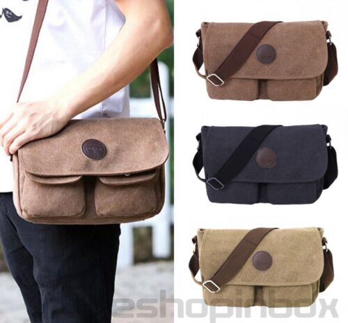 Men's Canvas Messenger Bag Book Shoulder Sling Crossbody Tra