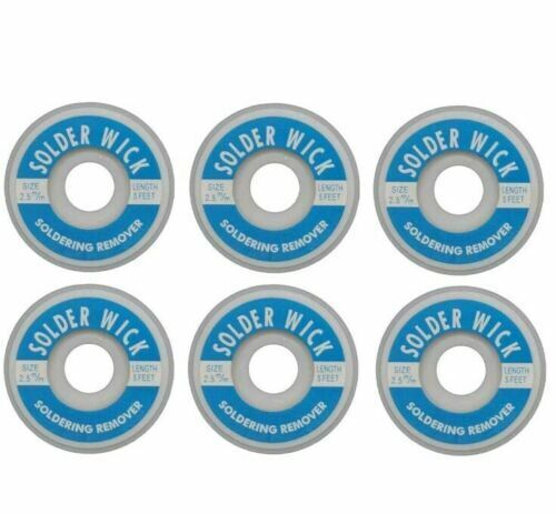 6-Pack of Aven 17542 Desoldering Wick, 2.5mm Width, 1.5M Length *Free Shipping*