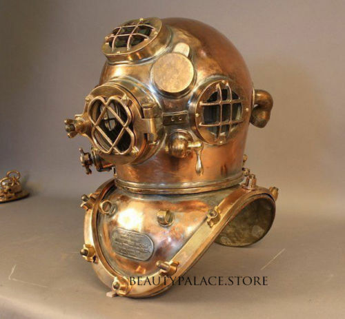 ROYAL U.S NAVY MARK V SOLID COPPER BRASS HEAVY DIVING DIVERS HELMET SOLID STYLE