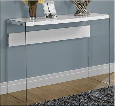 Console Sofa Table Glass Hall Entryway Living Room White Modern Contemporary