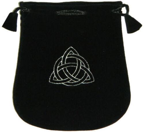"Black Velvet Bag / Pouch 5"" x 5"": Triquetra (Wicca Talisman Drawstring) Tarot"