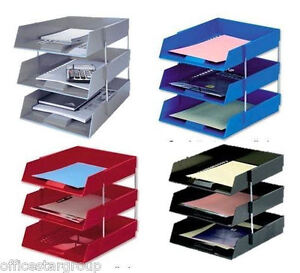 A4 Foolscap Letter Filing Desk Tray+Risers Sets-Stacking Paper-Office Stationery