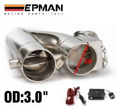 "3"" Electric Dual Valve Exhaust + Remote *Bypass Cut out Dump Pipe Y Varex Inch*"