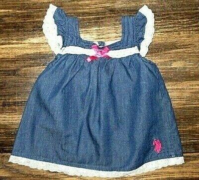 U.S. Polo Assn baby girl denim summer dress size 6/9 month