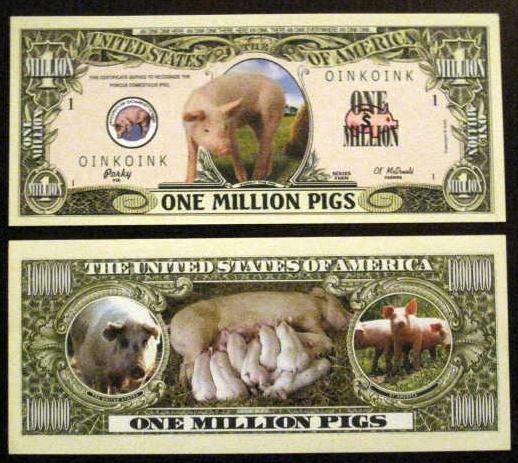 $1 Million Cute Fun Pigs Dollar Bill & Hard Case Great Gift Free Display Case Al