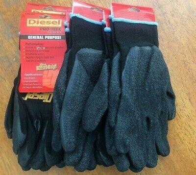 6 Pairs Xlarge Black Diesel Pro-tekk Latex Grip Work Gloves