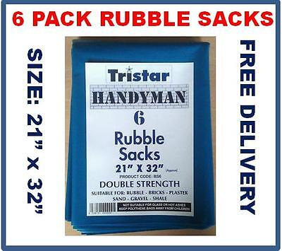 6 Pack Blue Rubble Sacks, 400g 21 x 32