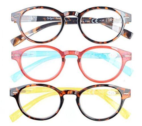 Eyekepper Women's Reading Glasses 3 Pack Classic Stylish Round +1.25