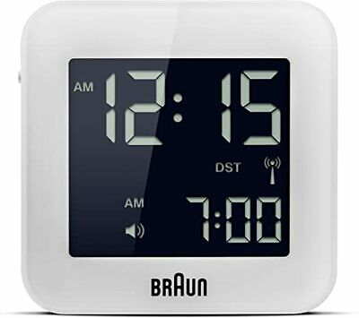 Braun BNC009WH-RC White Digital Quartz Radio Controlled Travel Alarm Clock