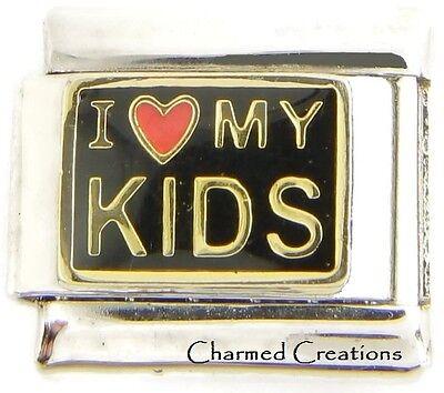 I Love My Kids Black Link Red Heart For 9mm Italian Charm Bracelets Mom Family ()