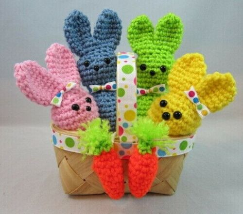 "NEW 6"" EASTER BUNNIES IN A BASKET Stuffed Crochet Animal DECORATION GIFT"