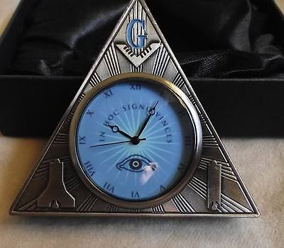 MASONIC DESK CLOCK - NEW - A BEAUTY!  NO RESERVE!  SEE MY OTHER MASON ITEMS! on Rummage