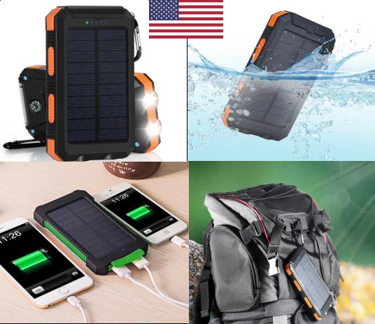 500000mAh Portable Waterproof Solar Charger Dual USB Externa