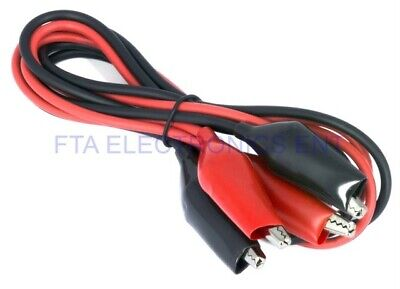 Pair Of Dual Red Black Test Leads With Alligator Clips Jumper Cable 16ga Wire