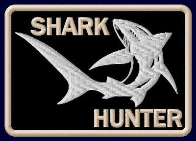 "SHARK HUNTER EMBROIDERED PATCH ~3-5/8"" x 2-1/2"" OUTDOOR SPORT FISHING ROD HAI"