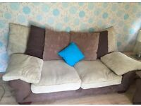 2 x 3 Seater sofas, cream and brown, EXCELLENT condition