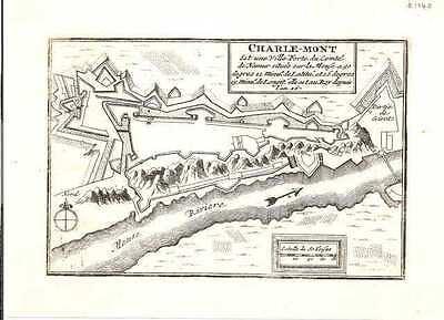 Antique map, Charle-Mont est une Ville Forte du Comte de Namur