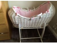 White Moses basket for sale with pink insert!!