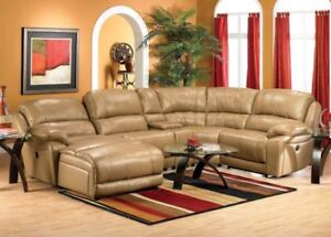 5 Piece Cindy Crawford Sectional Sofa - Toffee - Selling ASAP