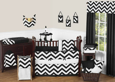 Sweet Jojo Designs 9-Piece Black and White Chevron ZigZag Ba