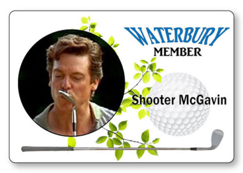 SHOOTER MCGAVIN FROM HAPPY GILMORE NAME BADGE PROP HALLOWEEN COSPLAY PIN BACK
