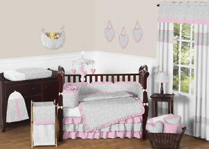 Luxury Pink And Gray Cheetah Animal Print Baby Bedding Crib Set For Newborn