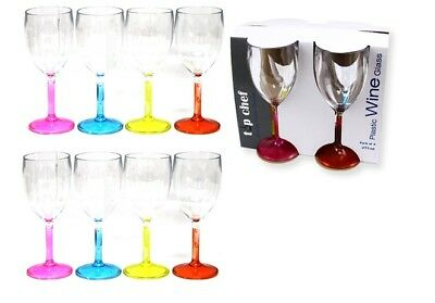 8 pcs Wine Clear Plastic Glass Coloured Base Drinking Beverage Resuable 275ml ()