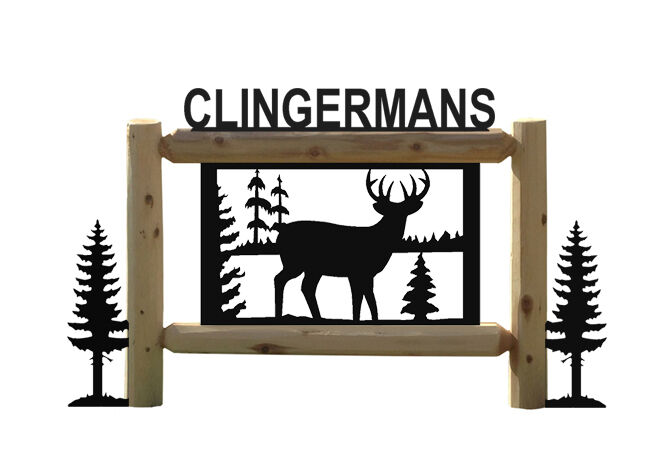 DEER SIGN WITH PINETREES