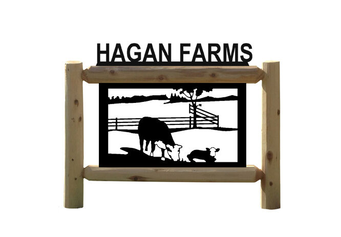 PERSONALIZED COW SIGN - HEREFORD CATTLE - FARM & COUNTRY OUTDOOR SIGNS