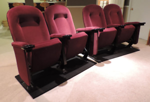 6 THEATRE CHAIRS like new: Burgundy velvet uphls'd w cupholders