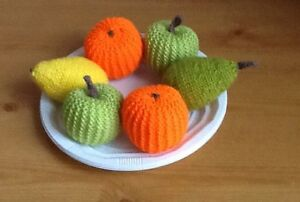 Hand knitted Fruit X 6; toy food
